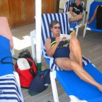 Relaxing on the QE2 at Sea