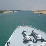 The Suez Canal as seen from the Bow of the QE2