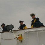 Captain of the QE2 and Crew on the Bridge at Kobe