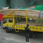 Chinese Scaffolding Arrives at a Job Site on Hong Island