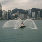 A Fire Boat Salute to the QE2