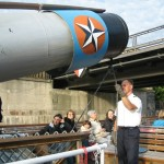 Lowering the Smokestack to fit under a Bridge on the River Spree