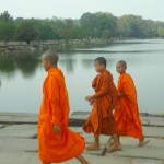 Monks on the Causeway at Angkor Wat